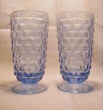 2 American Whitehall Blue Tumblers Ice Tea Cubic Fostoria Molds Indiana Glasses