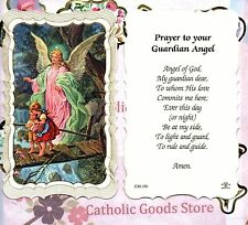 Guardian Angel Prayer - With Children - Scalloped trim - Paperstock Holy Card