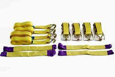 Heavy Duty Ratchet Straps x 4 Recovery Wheel Straps 4.2m x 50mm 5000kg Yellow