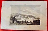 Ancienne Gravure sur acier XIX Chili Valparaiso par petit et de cholet
