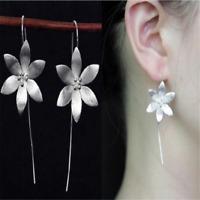 925 Silver Plated Long Drop Dangle Tassel Hook Earrings Ear Women Jewelry 1PAIR