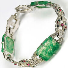 Coro 1930s Pave Jade and Multicolour Stones Oriental Bracelet
