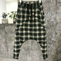 Lady Plaid Harem Trousers Pant Loose Tapered Drop Crotch Capri Drawstring Hippy