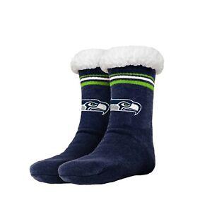 Seattle Seahawks Women's Stripe Logo Tall Footy Slippers - Size 6-10 Non Skid