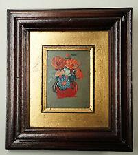 Kleines dekoratives Ölbild mit Goldpassepartout, im Holzrahmen (Ö69)