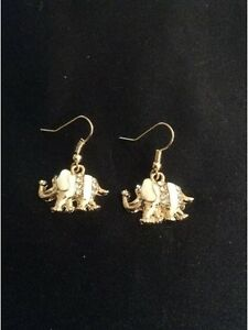 Vintage Style Gold & White Dangly Elephant Earrings With Diamanté. Jewellery