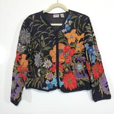 Chico's Embroidered Embellished Floral Blazer Sz 1