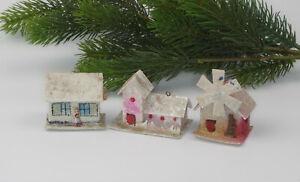 3 Antique Venetian Dew Putz Christmas ornaments cardboard,fairytale houses.