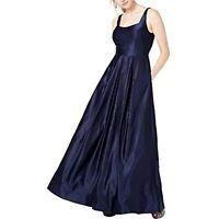 MSRP $149 City Studio Womens Juniors Satin Beaded Back Formal Dress Navy Size 3