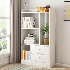 White 4 Cube Bookshelf Bookcase Kids 2 Drawer Book Shelves Unit Storage Shelving