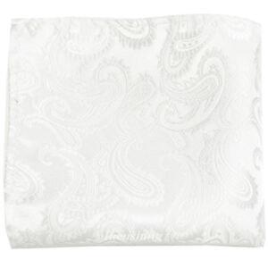 New Brand Q Men's  micro fiber Pocket Square Hankie Only paisley White formal