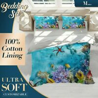 Starfish Coral Nature Underwater Blue Quilt Cover Doona Duvet Cover with 2 Shams