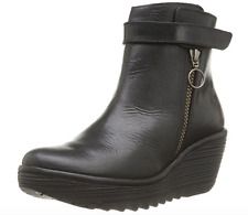 FLY London YAVA Rug Ankle Boots -Leather BLACK Size EU 40 US 9-9.5