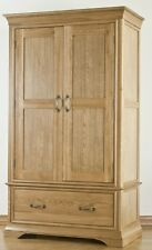 Toulon solid oak furniture double bedroom wardrobe with drawer