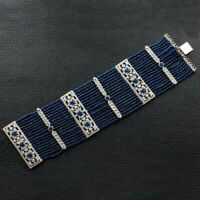 Real 925 sterling silver CZ bracelet Tennis White round sapphire beads - Royale`