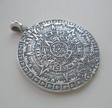 NEW EXCLUSIVE Aztec Mayan Sun Calendar SILVER PENDANT Necklace Medallion Amulet