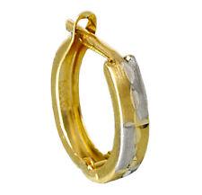 ECHT GOLD *** Herren Single-Creole 12 mm Ohrring bicolor diamantiert