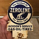 Vintage Zerolene The Standard Oil For Motor Cars Metal License Plate Topper Sign