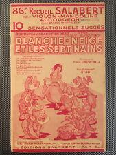 BLANCHE-NEIGE ET LES SEPT NAINS - Partitions & chansons du FILM - Salabert 1938