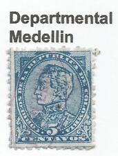 """stamps-colombia. 1886. 5C Blue sur bleu. Sg:124. """"MEDELLIN"""" DEPARTEMENTAL cancel"""