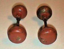 Vintage Metal Door Knobs Painted Brown  Two