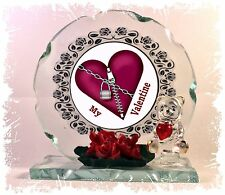 Red Heart Zip & Padlock Valentine Cut Glass Unique Frame Plaque  Red Heart Teddy