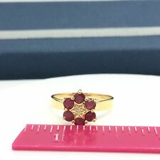 14k Yellow Gold Natural Ruby Diamond Ring July Birthstone