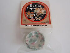 Vintage Acme Christmas Baking Cups Petit Four Holly Paper 75 MIP Mini Muffins