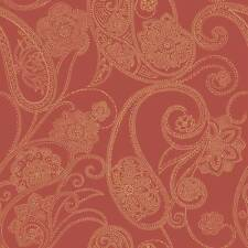 Wallpaper Candice Olson Metallic Dotted Gold Paisley on Red Background
