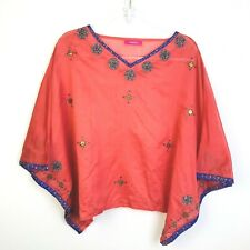 India  Costume Top Semi Sheer Crop Top Embellished Ethnic Festival Coral  Party