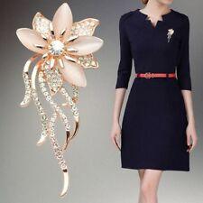 Women Elegant Oval Stone Rhinestone Gift Gold Pin Opal Flower Brooch