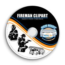 Fireman Firefighter Clipart Vector Clip Art Vinyl Cutter Plotter Eps Graphics Cd