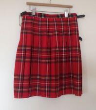 "New Red Tartan Kilt Skirt 28"" S SM Mans 10 Wool Scottish Party Hogmanay Wedding"