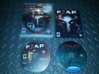 F.E.A.R.3 Fear 3 F3ar / Sony PlayStation 3 PS3 Game with Orphan Blu Ray COMPLETE