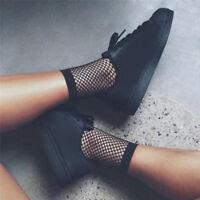 Femmes noires résille cheville haute chaussettes Lady Mesh chaussettes courte_R