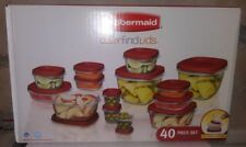 RUBBERMAID 40 PC FOOD STORAGE CONTAINER ORGANIZER SET EASY FIND LIDS
