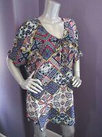 NWT Gypsy05 Bima Printed Silk Lace Front Dolman Sleeve Shift Mini Dress M $242