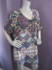 NWT Gypsy05 Bima Printed Silk Lace Front Dolman Sleeve Shift Mini Dress XS $242