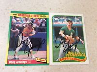 (2) Fleer/Topps Oakland Athletics Doug Jennings Autographed Baseball Cards