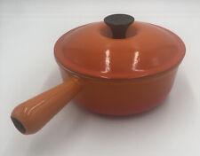 Le Creuset #20 Flame Orange Enamel Cast Iron Pan W Lid Hollow Handle 2 Quart Pot