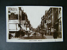 Old Pelham Real Photo Postcard of Castle Street, Bristol. Posted 1929 UPU Stamp.
