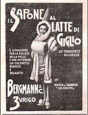 PUBBLICITA'1900 SAPONE AL LATTE DI GIGLIO 2 MINATORI BERGMANN ZURIGO SOAP ZURICH