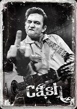 "Johnny Cash ""Finger"" metal postcard / mini-sign   (na)"