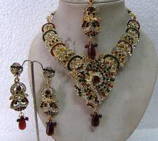 INDIAN BRIDAL KUNDAN GOLD PLATED MAROON & GREEN STONE DIAMANTES NECKLACE SET