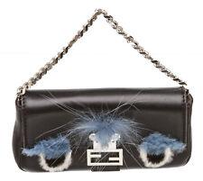 Fendi Black Leather Micro Monster Baguette Crossbody Bag