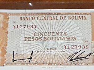 ➡➡ RARE MISMATCHED SERIAL NUMBERS ERROR NOTE BOLIVIA 50 PESOS 1962 P-162 GEM AU