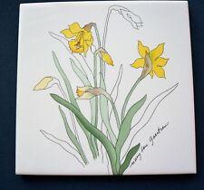 Block Spal Portugal Mary Lou Goertzen Watercolor Daffodil Ceramic Trivet Tile