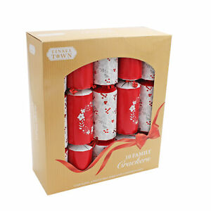 10 Pack Family 30cm Christmas Crackers - Red / White