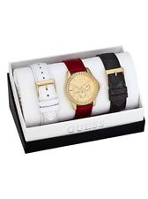 New Authentic guess black,white,& gold interchangeable straps watch set U0069L4