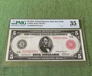 ⭐RED SEAL⭐ 1914 $5 New York Fr. 833b - Certified PMG Choice Very Fine VF 35 C2C